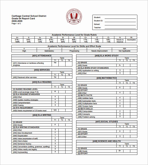 Printable Report Card Template Lovely 26 Progress Report Card Templates Google Doc Pdf Psd