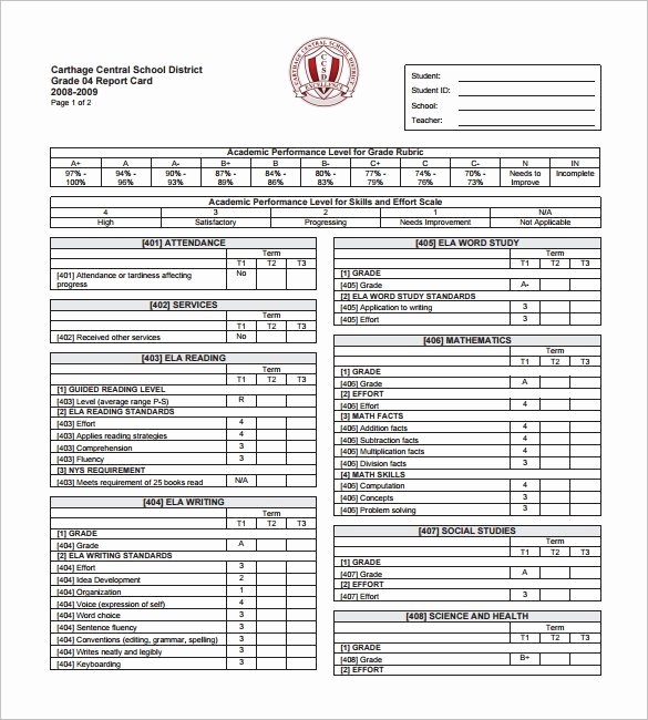 Printable Report Card Template New 14 Progress Report Card Templates Word Pdf Docs Pages