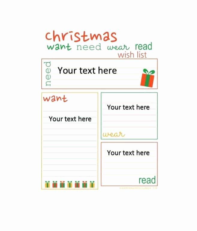 Printable Wish List Template Awesome 43 Printable Christmas Wish List Templates & Ideas