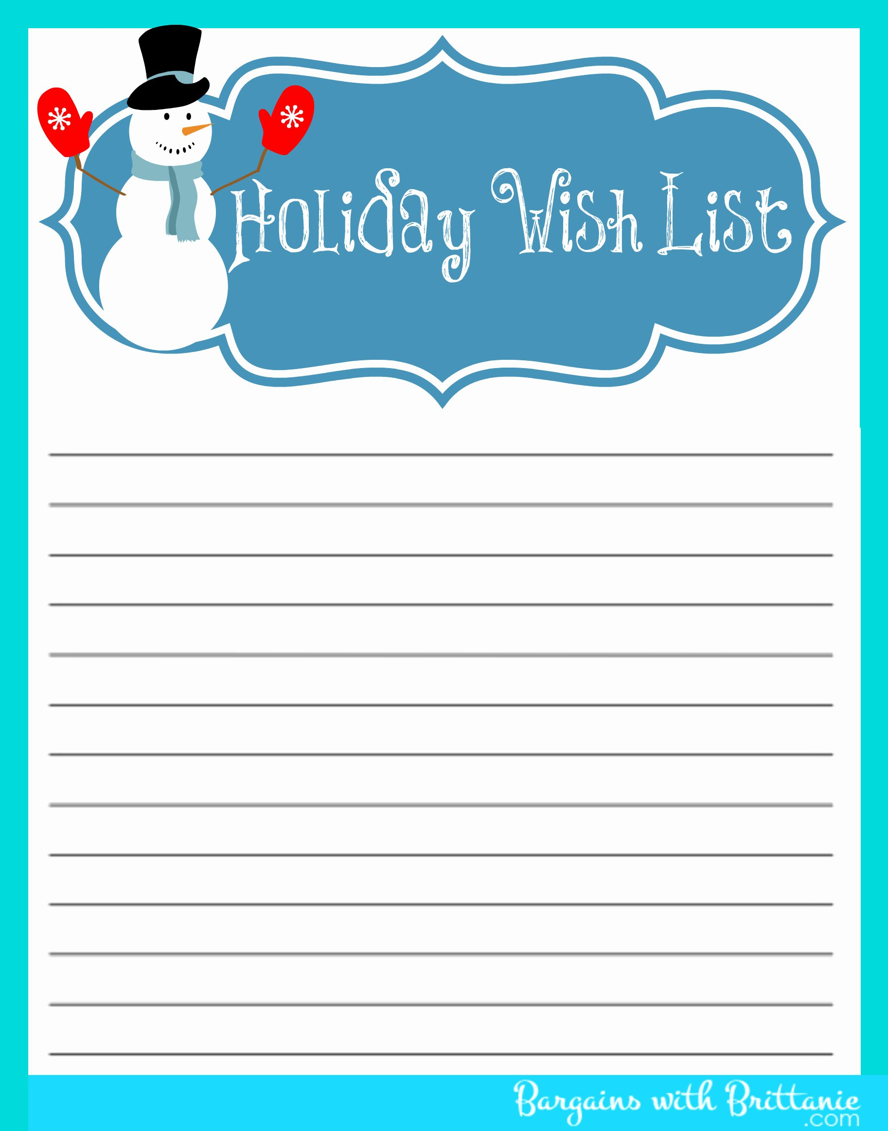Printable Wish List Template Awesome 5 Best Of Free Printable Christmas List Maker