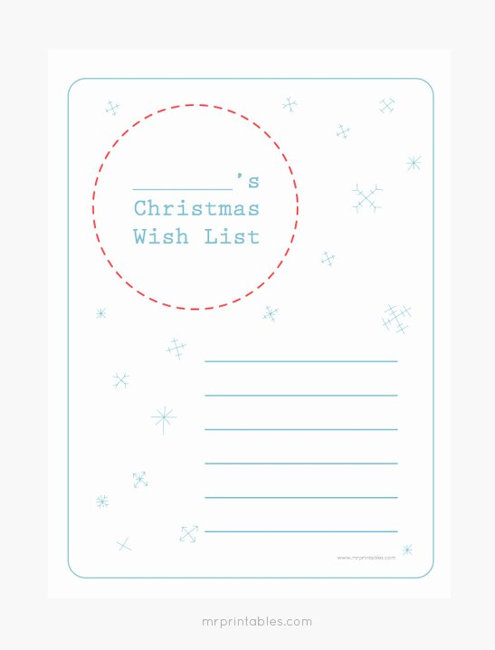 Printable Wish List Template Beautiful Christmas Wish List Templates Mr Printables