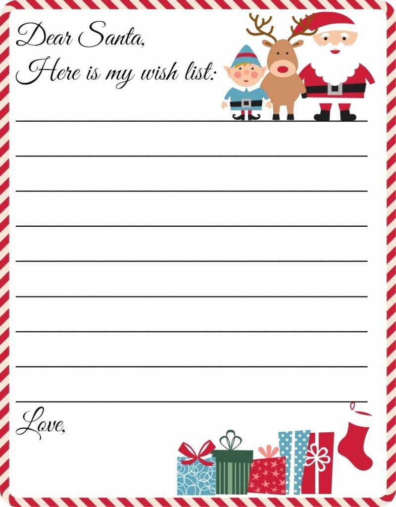 Printable Wish List Template Inspirational Free Printable Letter to Santa Template Cute Christmas