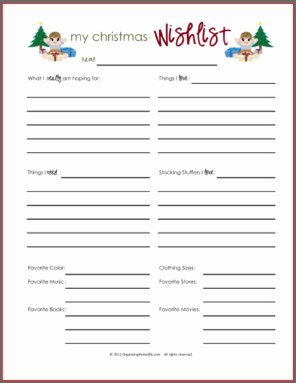 Printable Wish List Template Lovely Wish Lists Printables for Boys Girls & Everyone