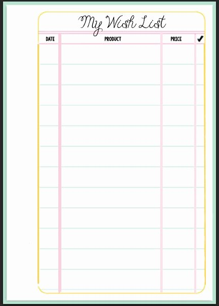 Printable Wish List Template Luxury Filofax Wish List Printable