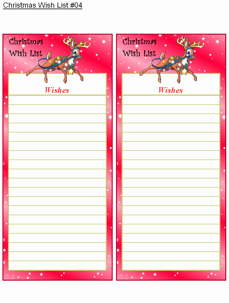 Printable Wish List Template Luxury Santa Wish List Template Free Printable Christmas Printables