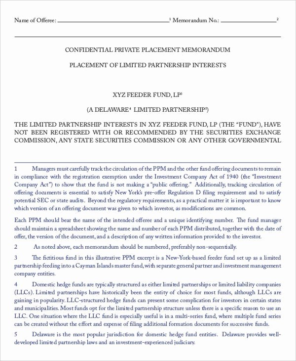 Private Placement Memorandum Template Awesome Private Placement Memorandum Template 2018