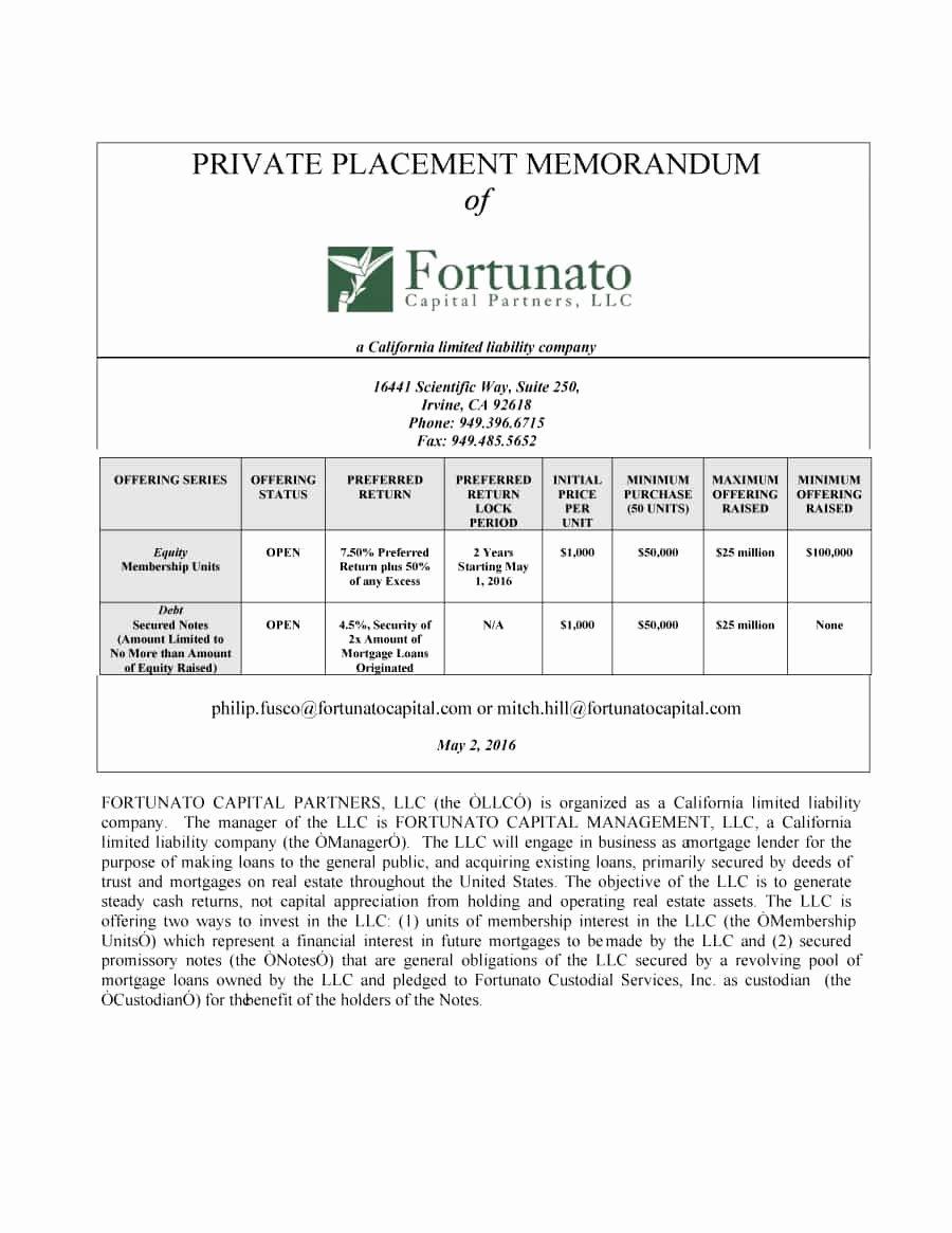 Private Placement Memorandum Template Luxury 40 Private Placement Memorandum Templates [word Pdf]