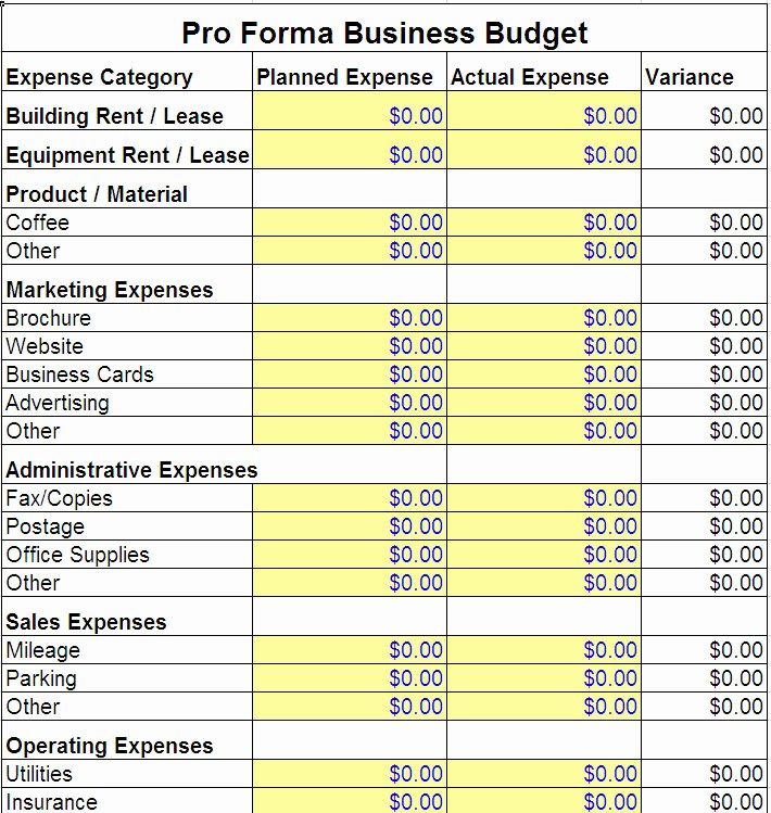 Pro forma Budget Template Inspirational Pro forma Business Bud Template