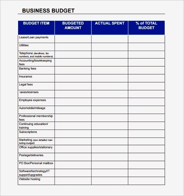 free simple small business bud template