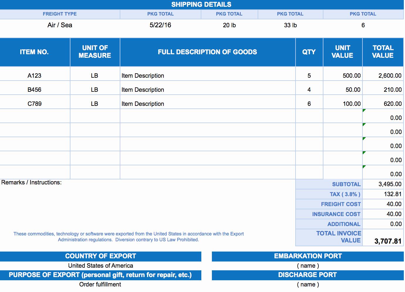 Pro forma Invoice Template Elegant Free Excel Invoice Templates Smartsheet