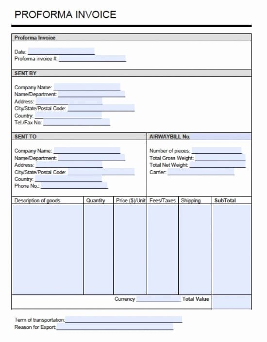 Pro forma Template Excel New Proforma Invoice Doc