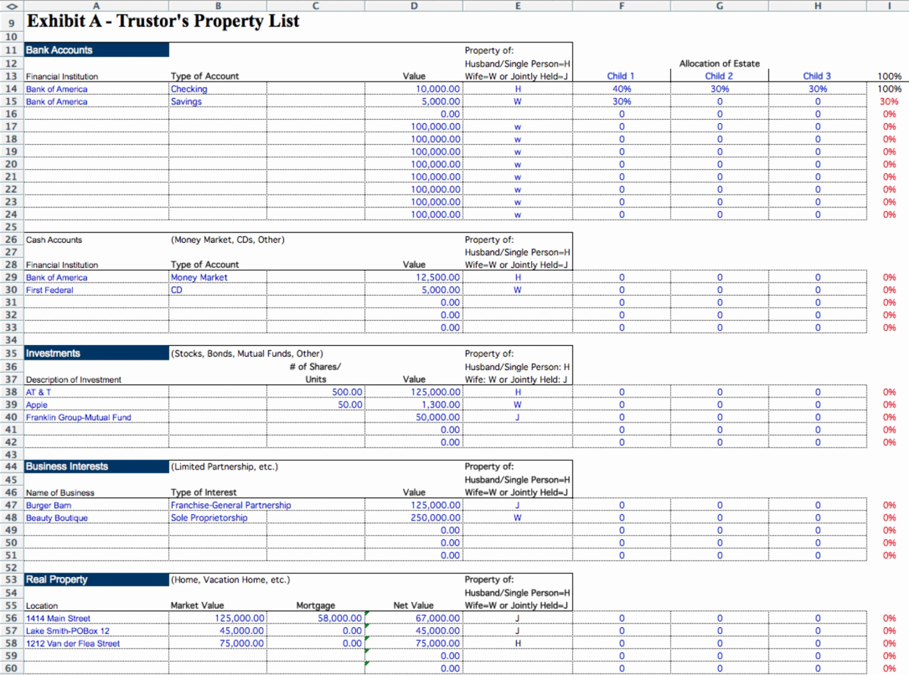 Probate Accounting Template Excel Lovely Executor Excel Spreadsheet with 001 Probate Accounting