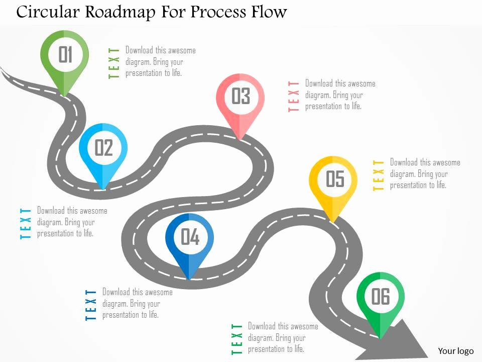 Process Map Template Powerpoint Lovely Circular Roadmap for Process Flow Flat Powerpoint Design