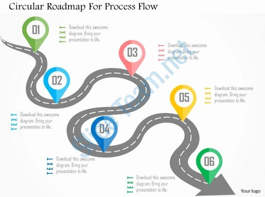 Process Map Template Ppt Fresh Circular Roadmap for Process Flow Flat Powerpoint Design