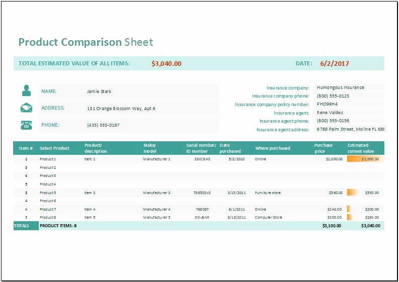 Product Comparison Template Excel Unique Product Parison Sheet Template for Ms Excel