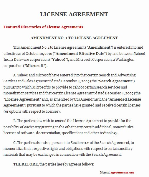 Product Licensing Agreement Template Awesome License Agreement Sample License Agreement Template
