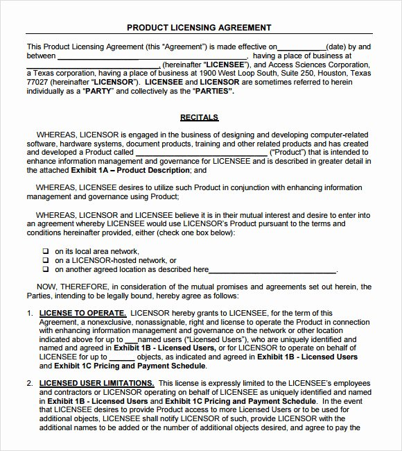 Product Licensing Agreement Template Elegant 8 Sample License Agreements – Pdf Doc