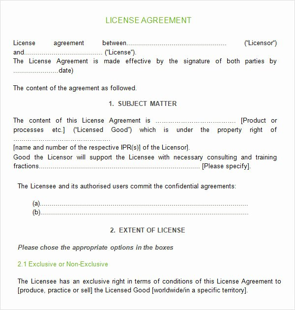 Product Licensing Agreement Template Lovely Sample License Agreement Template 9 Free Documents In