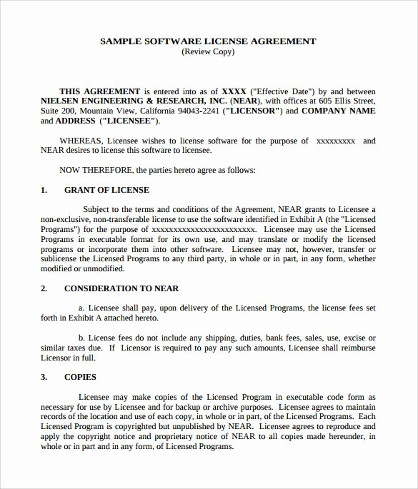 Product Licensing Agreement Template New 7 Sample software License Agreements