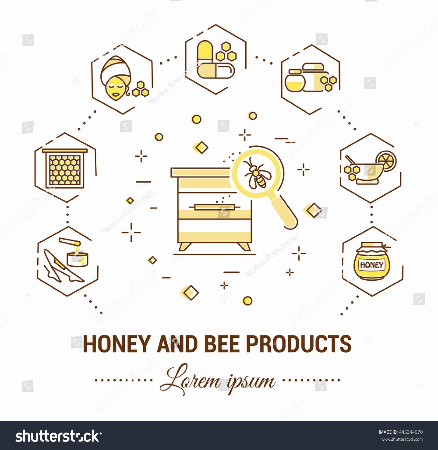 Product Line Card Template New Flat Line Illustration Honey Bee Products Stock Vector