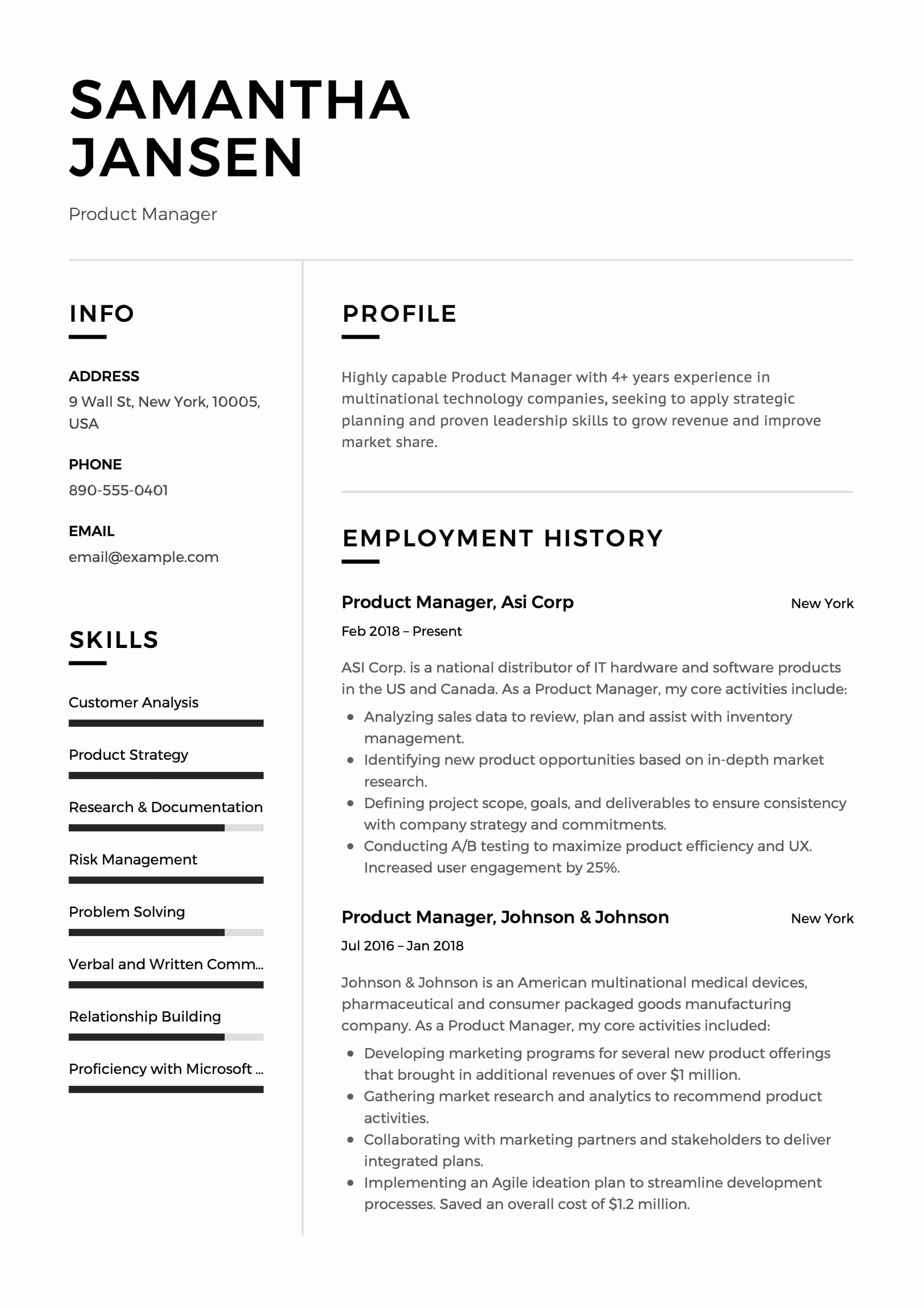 Product Manager Resume Template Beautiful 12 Product Manager Resume Sample S 2018 Free Downloads