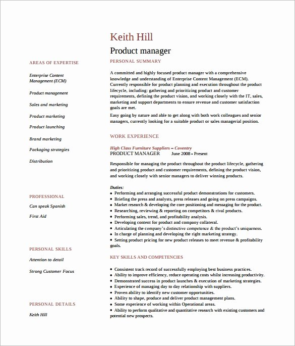 Product Manager Resume Template Beautiful 8 Product Manager Resume Templates to Download for Free