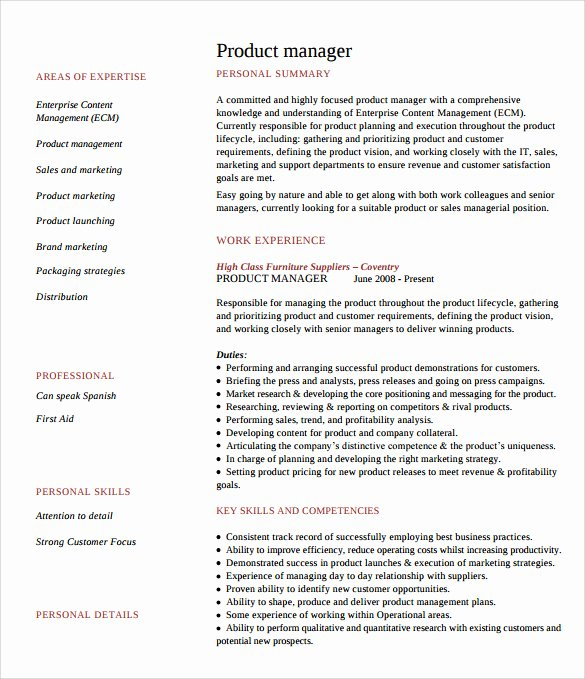 Product Manager Resume Template Elegant 8 Product Manager Resume Templates to Download for Free