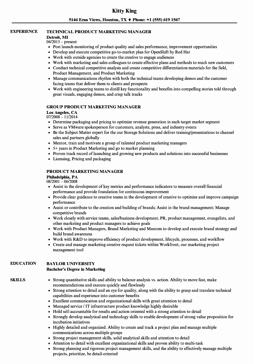 Product Manager Resume Template Fresh Product Marketing Manager Resume Samples