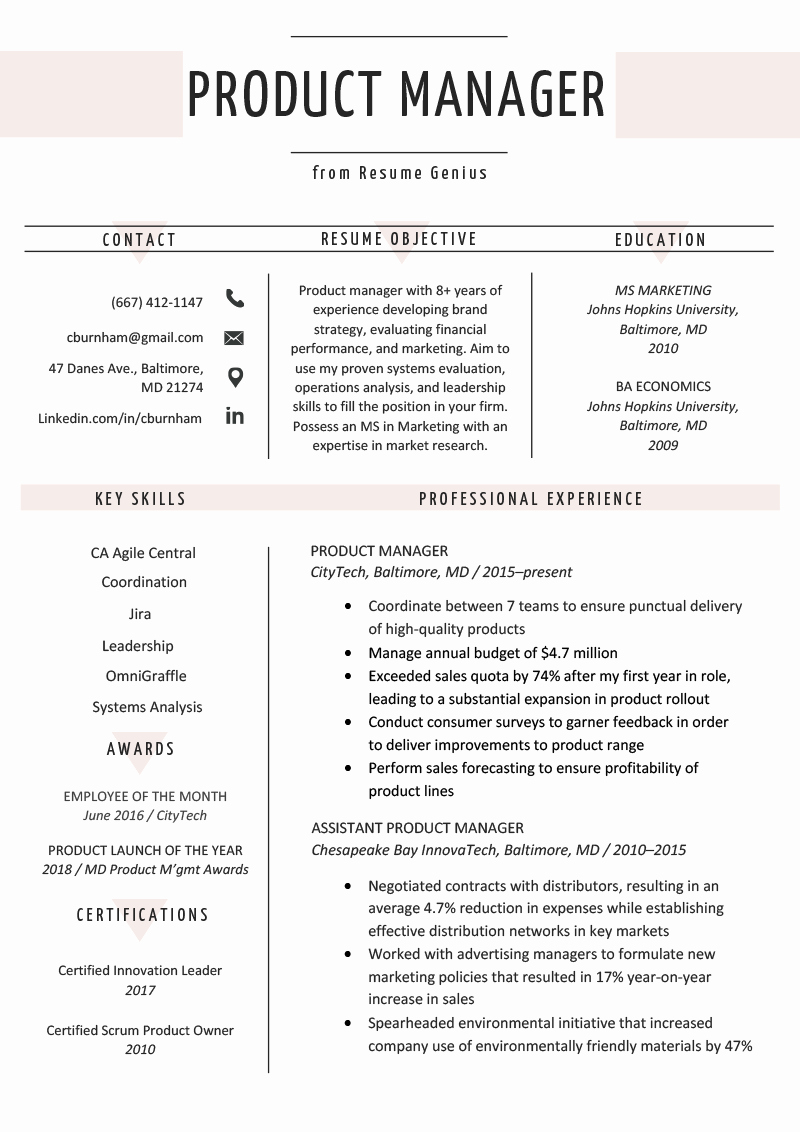 Product Manager Resume Template Lovely Product Manager Resume Sample & Writing Tips
