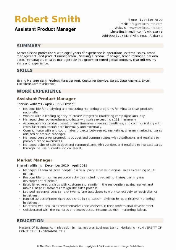 Product Manager Resume Template Luxury assistant Product Manager Resume Samples
