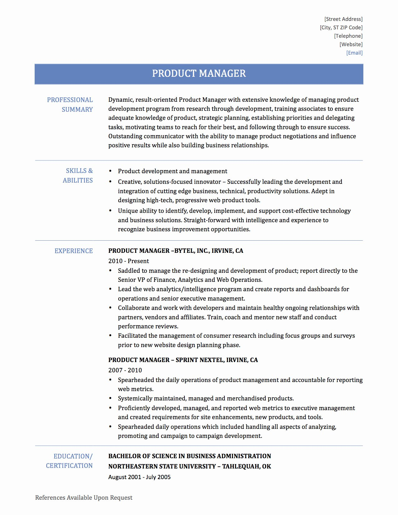 Product Manager Resume Template New Product Manager Resume Samples