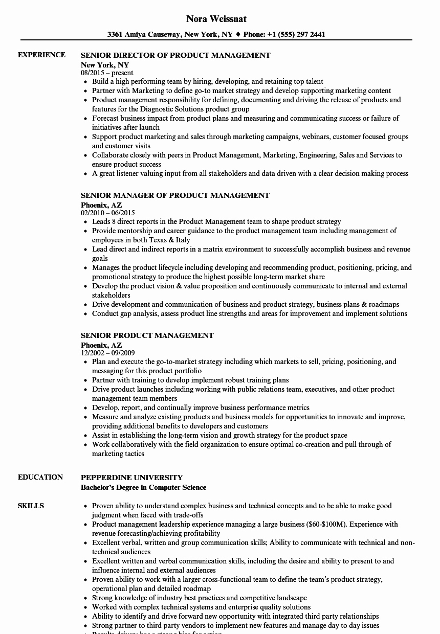 Product Manager Resume Template New Senior Product Management Resume Samples