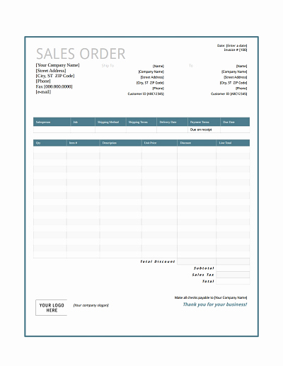 Product order form Template Fresh Sales order form Template