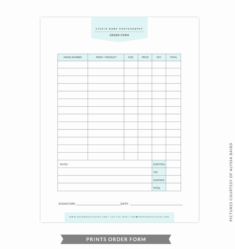 Product order form Template Unique 8 5x11 Prints order form Template