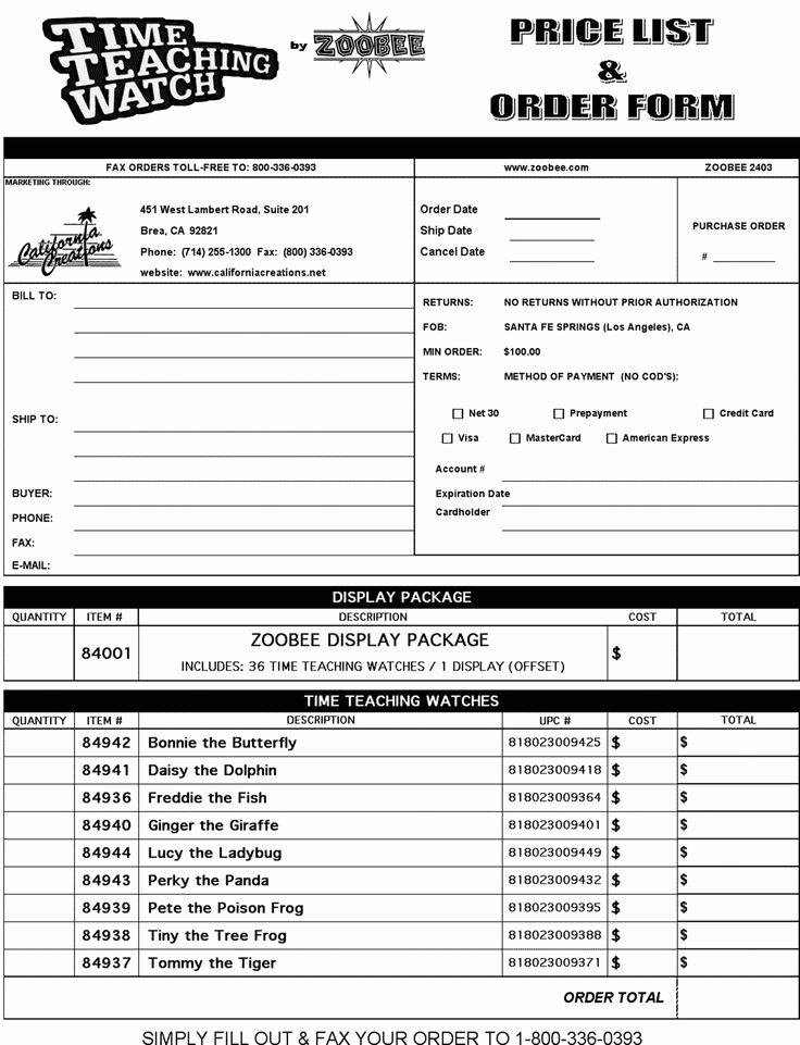 Products order form Template Fresh order forms Templates