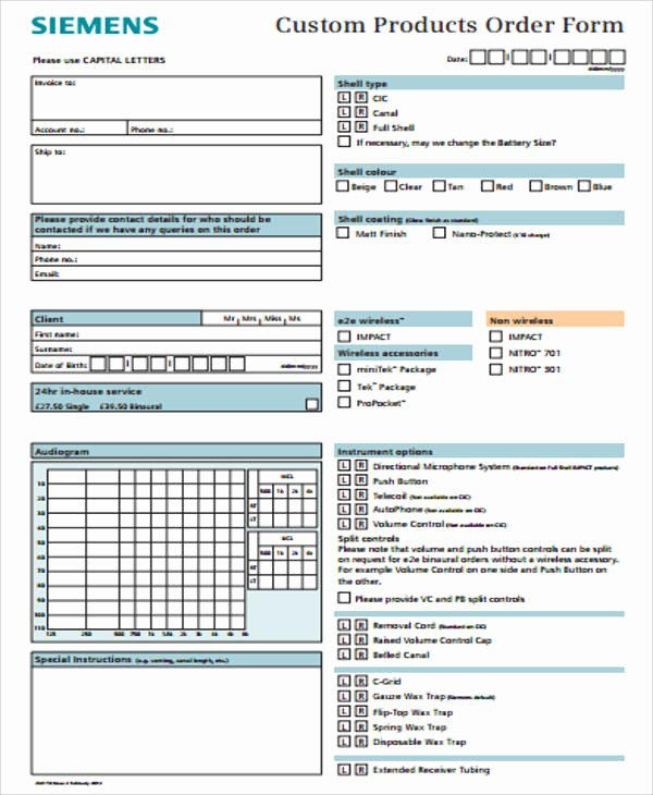 Products order form Template New 12 Sample Custom order forms