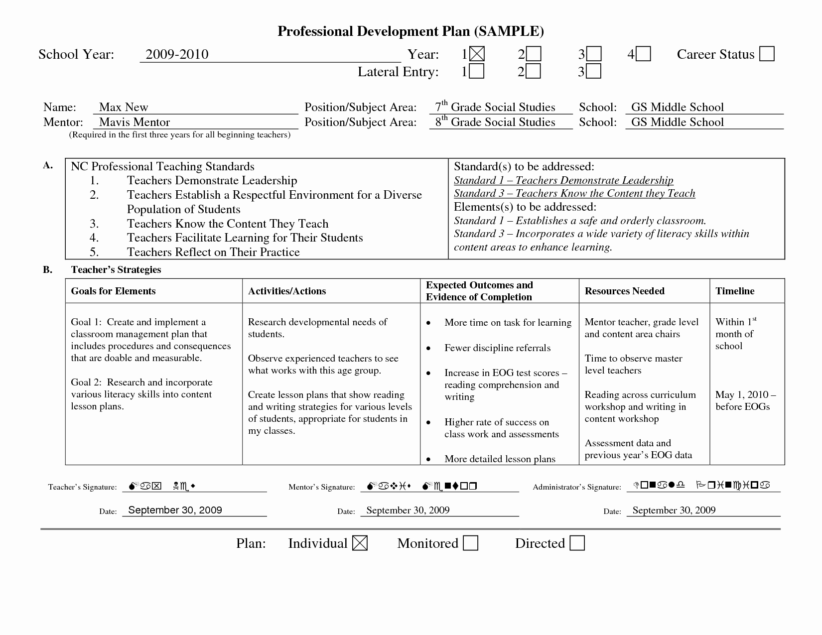 Professional Development Plan Template Awesome Professional Learning Plan Examples Google Search