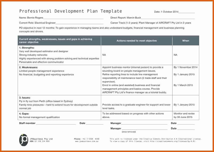 Professional Development Plan Template Unique Professional Development Plan Sample Electrical – Job