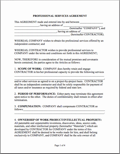 Professional Services Agreement Template Beautiful Sample Professional Services Agreement