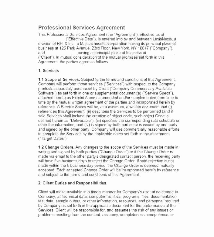 Professional Services Agreement Template Best Of Professional Services Agreement Template Concept Wonderful