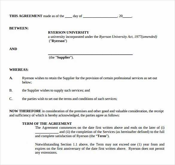 Professional Services Agreement Template Inspirational Sample Professional Services Agreement 12 Free In Pdf Word
