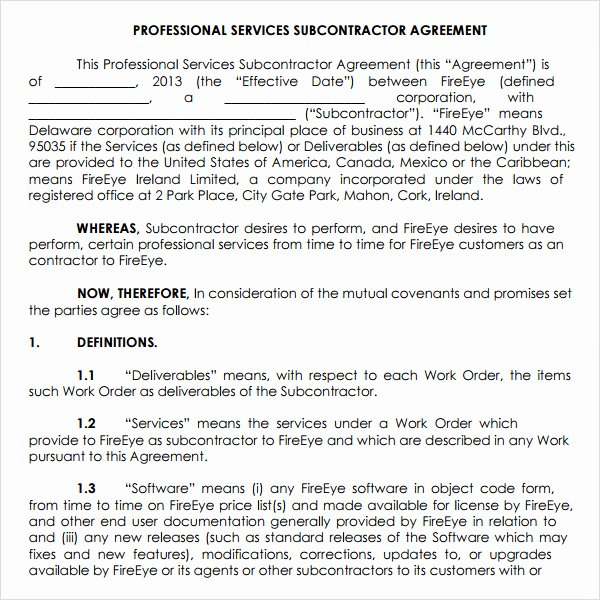 Professional Services Agreement Template Inspirational Subcontractor Agreement 13 Free Pdf Doc Download