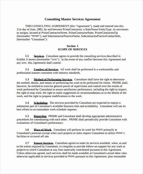 Professional Services Agreement Template Luxury 10 Consulting Service Agreements