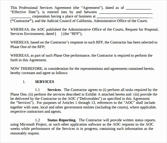Professional Services Agreement Template Luxury Sample Professional Services Agreement 12 Free In Pdf Word
