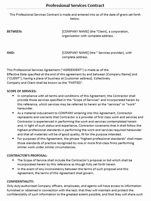 Professional Services Agreement Template Unique 11 Free Sample Professional It Service Agreement Templates