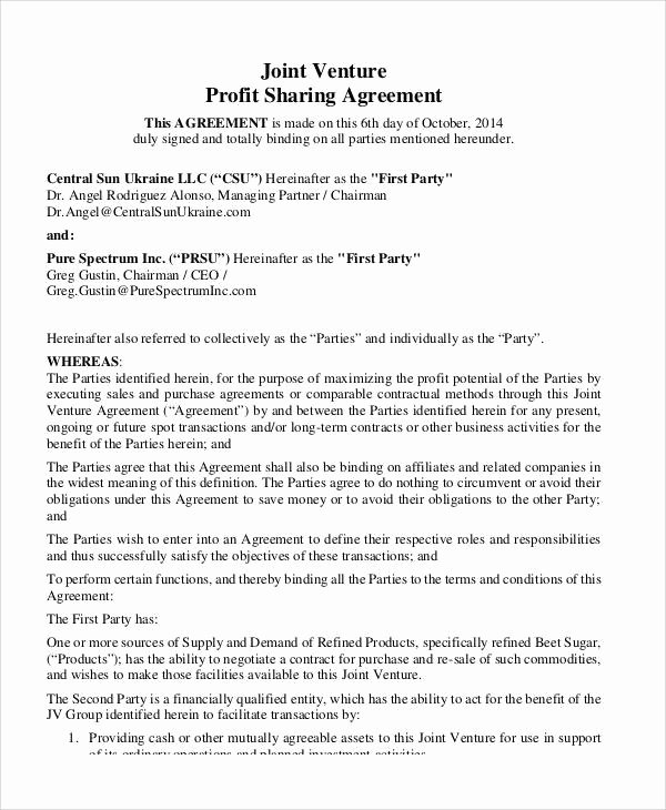 Profit Sharing Agreement Template Inspirational 51 Sample Agreement Samples