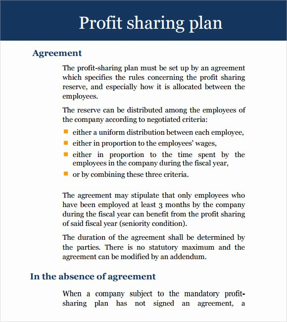 Profit Sharing Agreement Template Lovely 11 Sample Profit Sharing Agreements