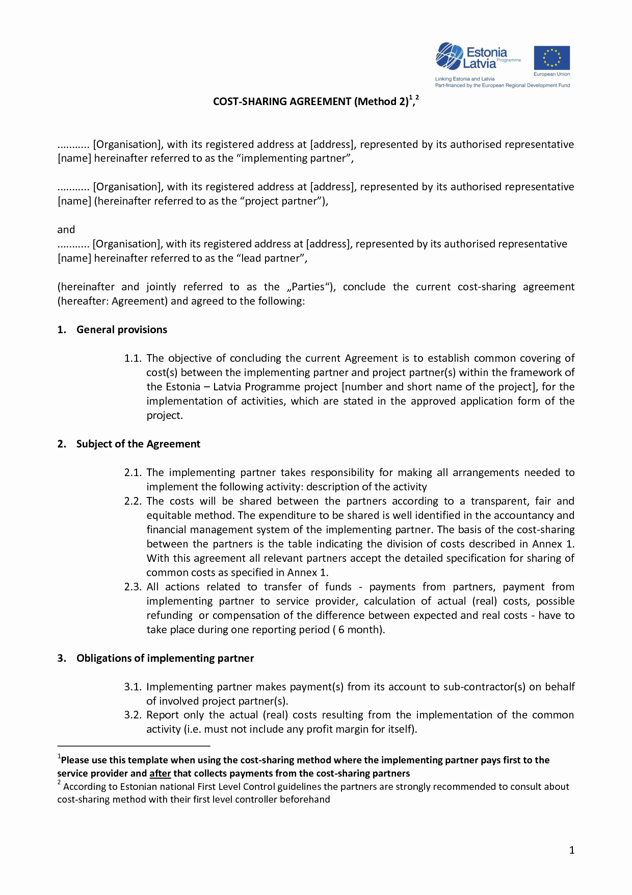 Profit Sharing Agreement Template Lovely 9 Best Of Non Profit Partnership Agreement Sample
