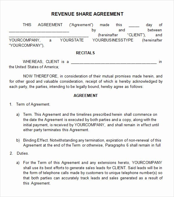 Profit Sharing Agreement Template New Profit Sharing Agreement 7 Free Pdf Doc Download