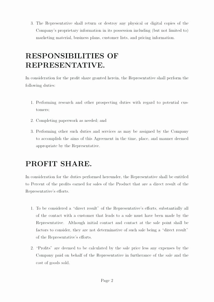 Profit Sharing Plan Template Beautiful Awesome Profit Agreement Best Sharing Contract